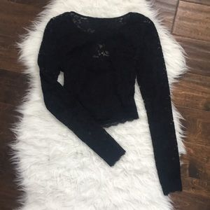 Express Long-sleeve Lace Crop Top